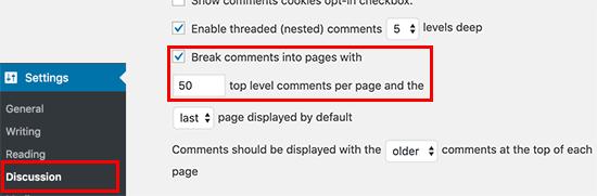 تقسيم التعليقات